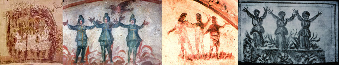 Early catacomb images of three men in fiery furnace