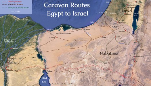 Nabataean Caravan Routes between Egypt and Israel in the 1st century CE, Google map with overlays by C.L. Francisco
