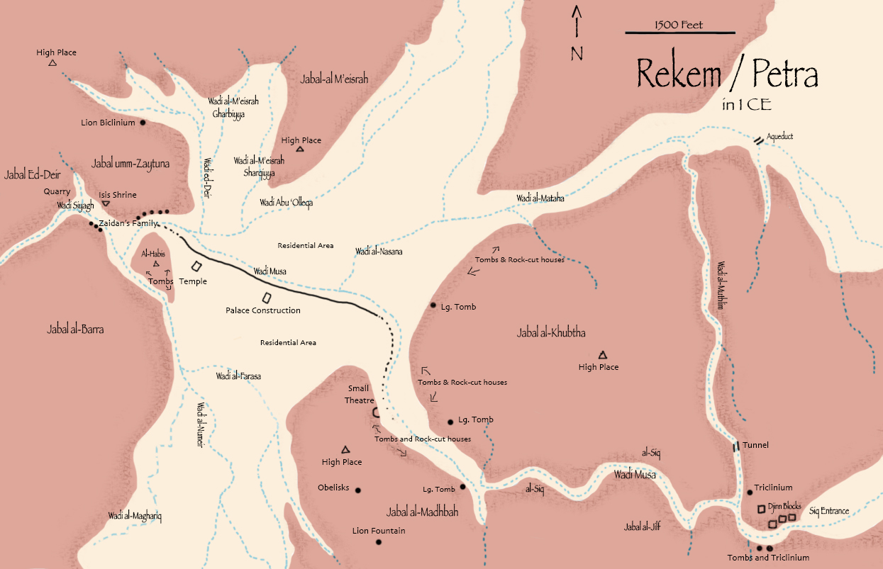 Rekem / Petra in 1 CE, map by C. L. Francisco