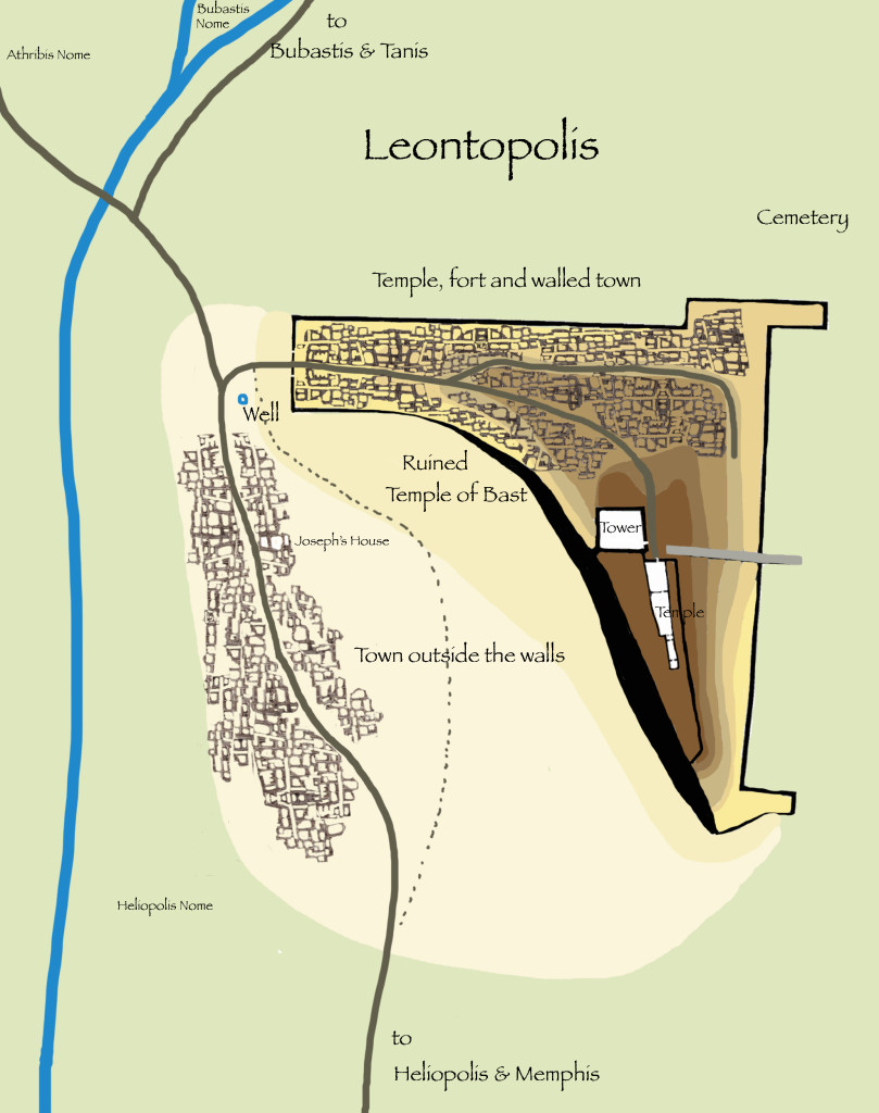 Jewish Temple at Leontopolis, map by C. L. Francisco, based on a map by F. Petrie
