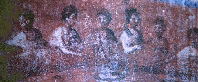 Early catacomb image of women serving a meal