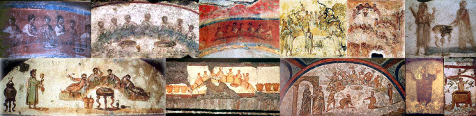 Early catacomb images of Christians gathered together