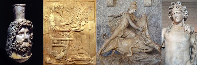 Serapis-Osiris,Persephone and Hades, Mithras, Dionysus