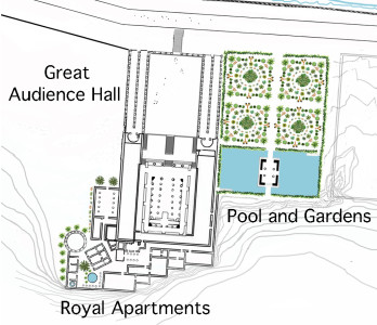Author's portrayal of Audience Hall and Pool Complex with royal apartments