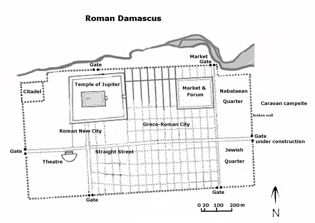 Roman Damascus, adapted from a map by Ross Burns